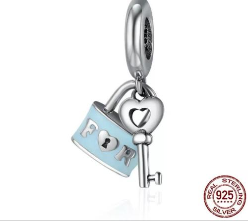 925 sterling silver lock and love charm