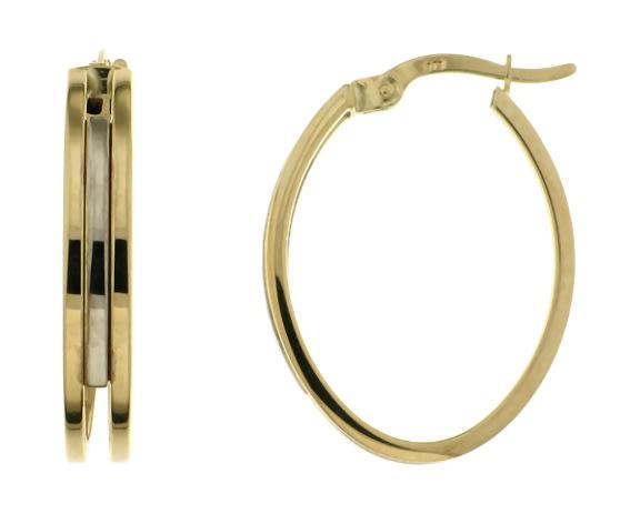 9k / 9ct gold 2 tone oval hoop earrings: 2x19mm
