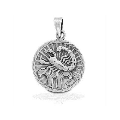 Bling jewelry 925 sterling silver scorpio zodiac medallion