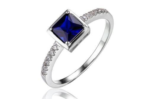Blue created sapphire sterling silver solitary square ring