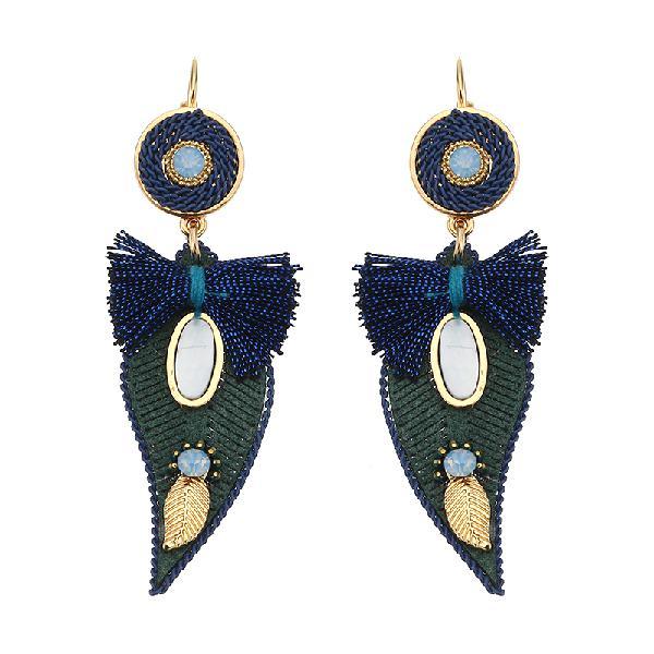 Bohemian earrings elegant leaf bowknot pendant gold plated