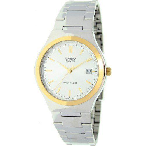 Casio mens stainless steel two tone baton analog dress watch