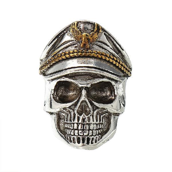 Cool skull head adjustable finger ring vintage double eagle
