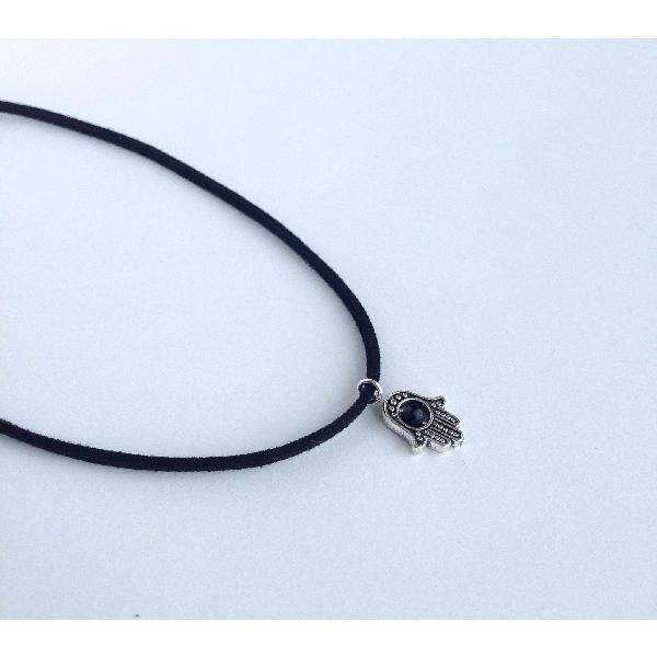 Crystal hamsa hand choker (assorted) - black