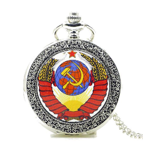 Deffrun fashion soviet sickle hammer silver quartz pocket