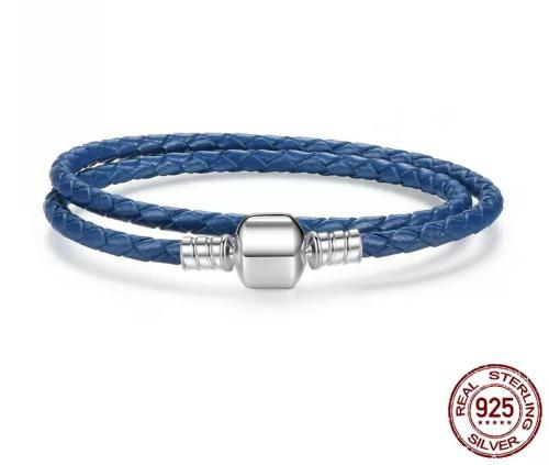 Double strand blue genuine leather & sterling silver