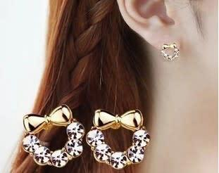 E stud fashion earrings bow crystal tie (k7042)