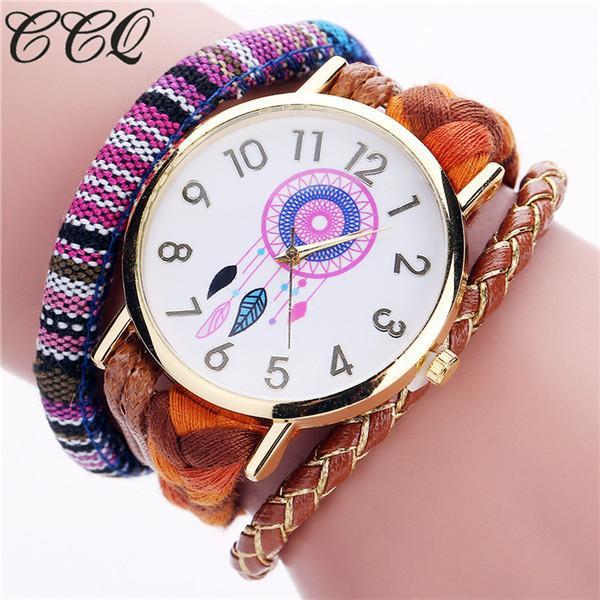 Ladies handmade braided dream catcher watch - brown
