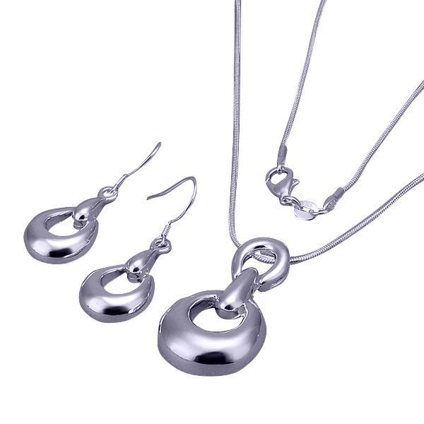 Plated silver fine snake chain and pendant with matching