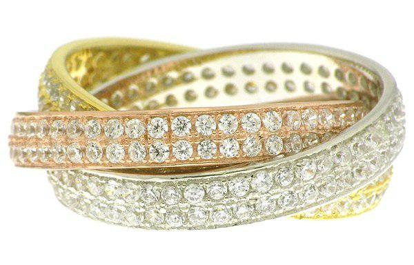 Russian bands: 3 colour, simulated diamonds, sterling silver