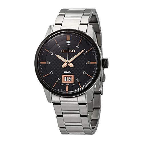 Seiko quartz black dial men's watch sur285