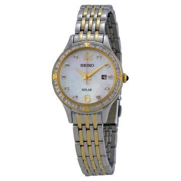 Seiko solar white dial two-tone stainless steel ladies watch