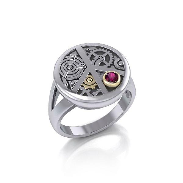 Sterling Silver Steampunk Peace Ring
