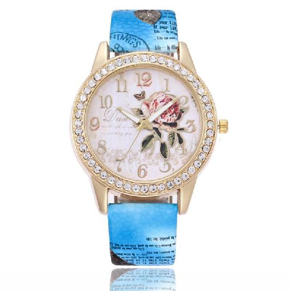 Stunning diamond crystal encrusted watch, printed strap -