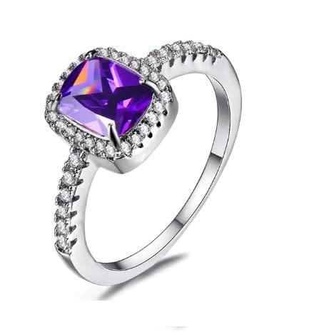 Stunning purple crystal cz fashion ring - size 8