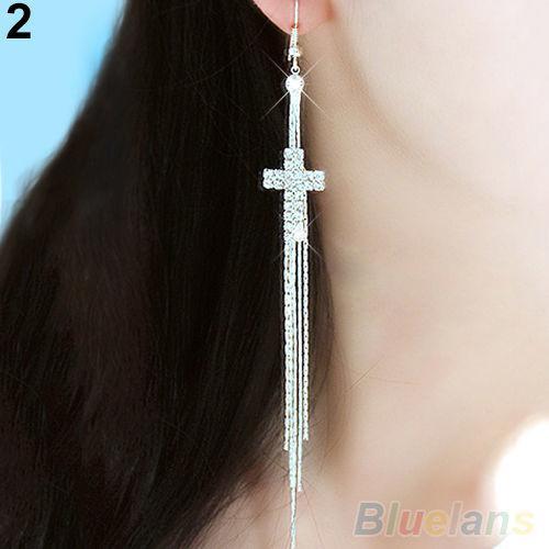 Women rhinestone cross drop long tassels hook linear