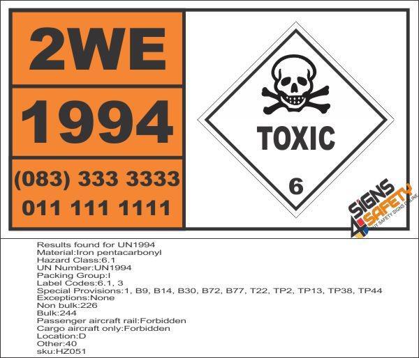 UN1994 Iron pentacarbonyl, Toxic (6), Hazchem Placard -