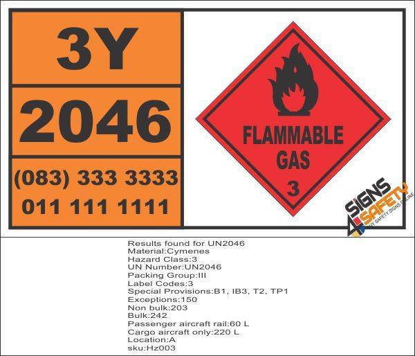UN2046 Cymenes, Flammable Liquid (3), Hazchem Placard -
