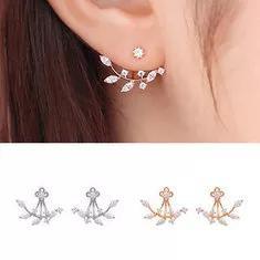 925 silver needle leaves cubic zircon crystal stud earrings