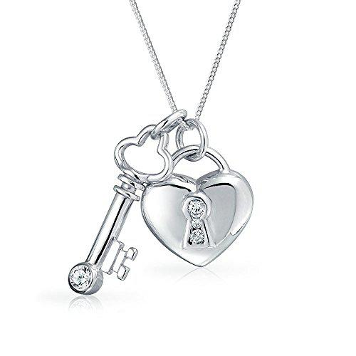 Bling jewelry 925 silver clear cz key and lock heart pendant