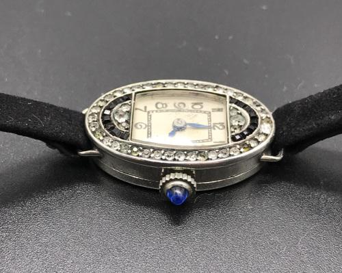Elegant art deco silver ladies wrist watch
