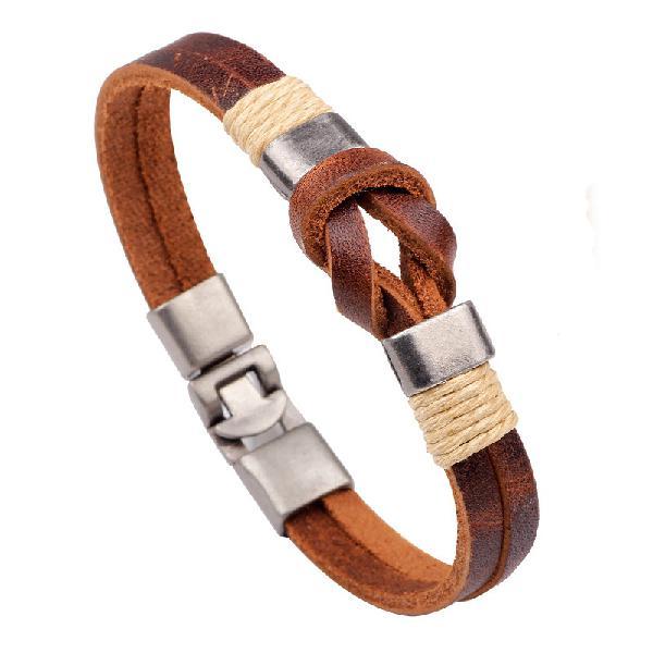 European style retro vintage leather men bracelet buckle