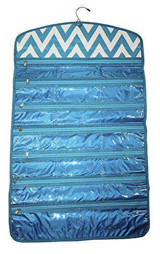 Ever moda chevron tri-fold hanging jewelry organizer bag