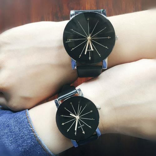 Fashion men women leather strap couple analog quartz ladies