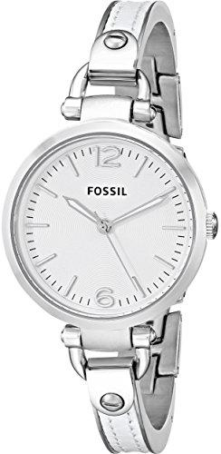 Fossil women's es3259 georgia white stainless steel/leather