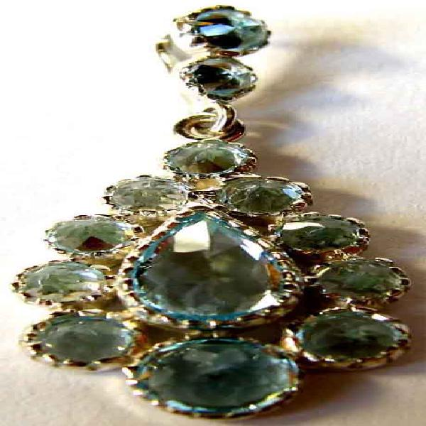Genuine sterling silver and blue topaz pendant