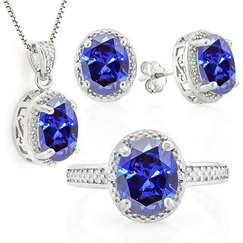 Genuine tanzanite & diamond 925 sterling silver jewellery