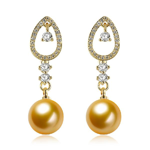 Inalis trendy gold plated zircon earrings pearl pendant