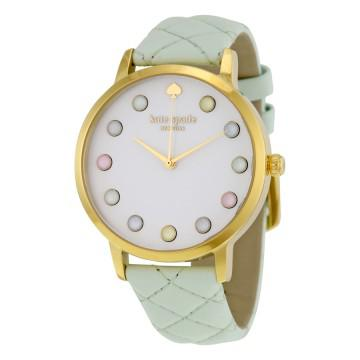 Kate spade metro grand white dial mint leather ladies watch