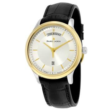 Maurice lacroix silver dial black leather strap gold plated