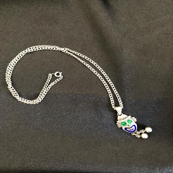 Necklace - silver chain with silver clown pendant
