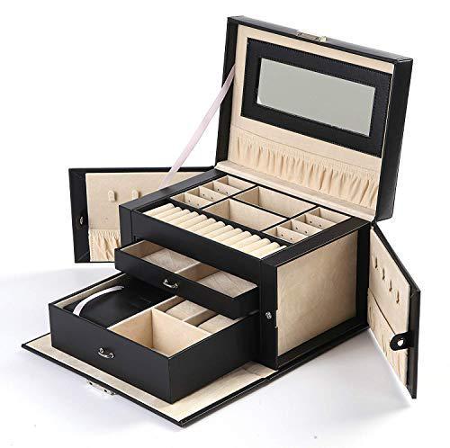Pu leather jewelry box organizer display storage case with