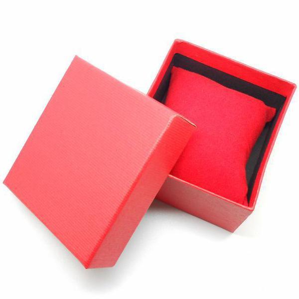 Red blue black square cardboard paper jewelry wrist watch