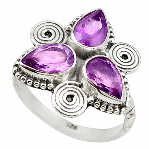 Sparkling natural amethyst cluster ring in solid sterling