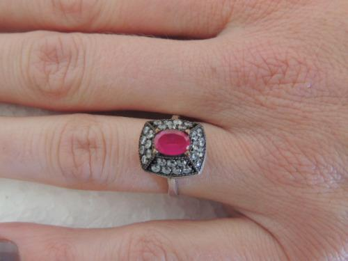Sterling silver ring - ruby and accent stones