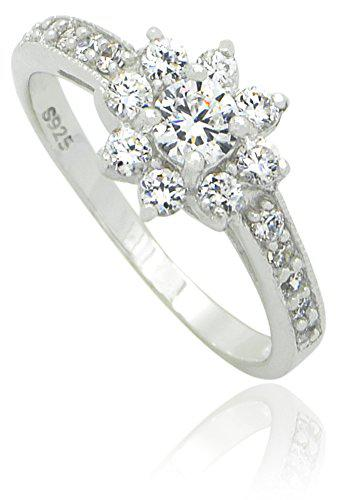 Sterling silver rhodium plated round cut cubic zirconia