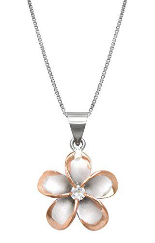 Sterling silver with 14k rose gold plated trim cz plumeria