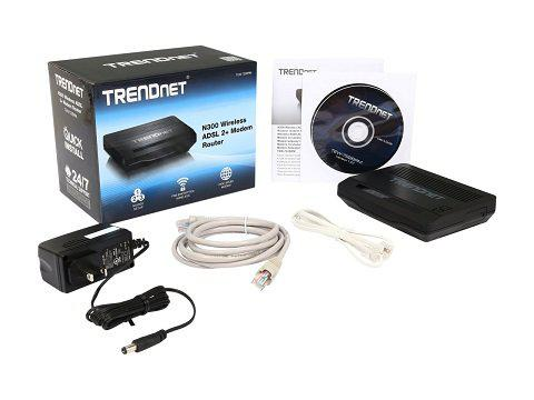 Trendnet n300 wireless adsl 2+ modem router tew-722brm black
