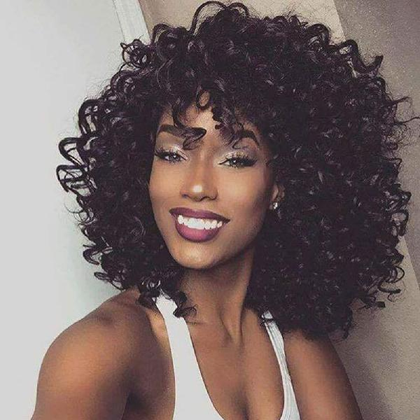 14 short black kinky curly wig jet black synthetic afro