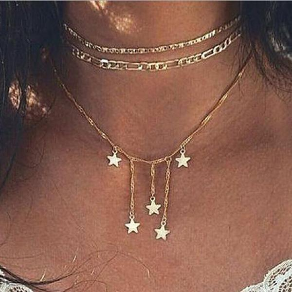 Artio layered necklace jewelry with star sequins for women