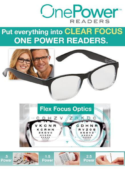 One power reader unisex glasses- power from +.5 to +2.50