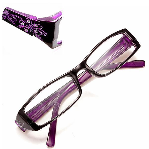 Purple female diamond flower frame presbyopic reading