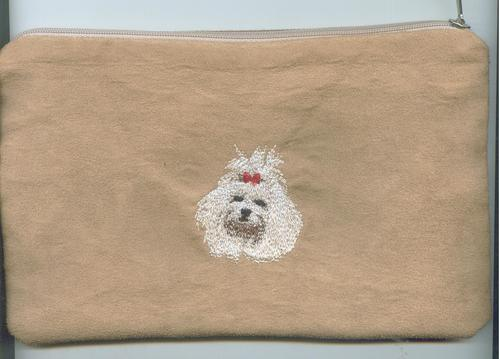 Big embroidered make up bag./pencil case maltese light brown
