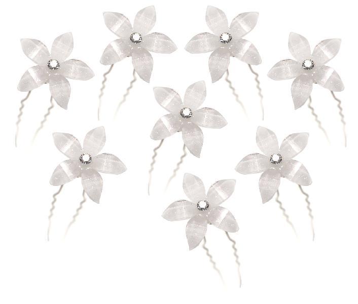 White flower hair pins with rhinestone crystal for wedding,