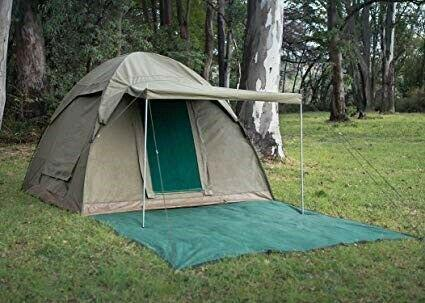 Canvas dome tent with awning