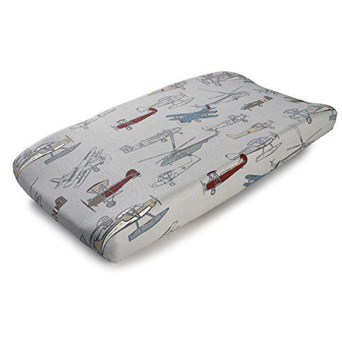 Liz and roo vintage airplanes contoured changing pad cover